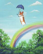 Print Of Painting Pembroke Welsh Corgi Ryta Folk Art Painting Rainbow Art Fairy