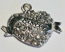 Rhinestone Heart Sister Charm - 1pc - Clearance - Silver Plated Jewelry Girls