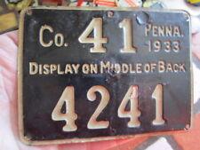Vintage 1933 Pennsylvania Hunting License / Numbered Metal Back Tag (2)
