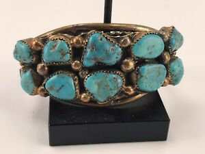Native American Indian, Navajo, Pawn 10 Stone Turquoise Bracelet, Gold Overylay