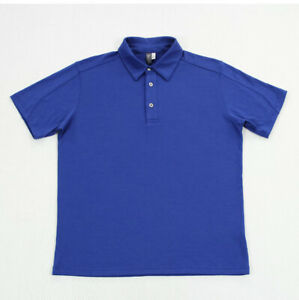 Ibex Mens Zque Merino Wool Short Sleeve Knit Polo Shirt Made in USA Blue Size L