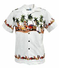 Men Aloha Shirt Cruise Tropical Beach Party Hawaiian White Vintage Cars Surf 005