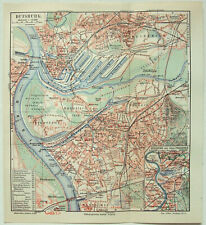 Original 1910 City Map of Duisburg, Germany by Meyers. Antique
