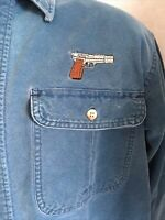 CABELA'S Denim shirt M Tall Button Embroidered Gun Pistol Long sleeve men