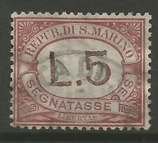STAMPS-SAN MARINO. 1897. 5l Brown & Rose. Key Value. SG: D45. Fine Used.