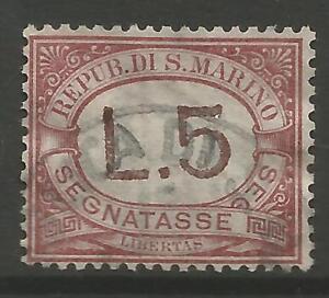 STAMPS-SAN MARINO. 1897. 5l Brown & Rose. Key Value. SG: D45. Fine Used