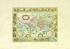 Antike Weltkarte Poster Kunstdruck Bild 35x50cm - Kostenloser Versand