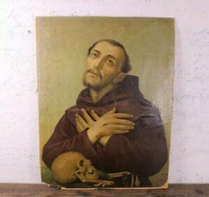 Grande ANTICA STAMPA San Francesco d'Assisi STIGMATE Teschio S. GIUSEPPE MODENA