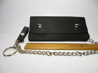 """North Star Black 8"""" Premium Leather Trucker Chain Wallet-Made In USA-Second#139A"""