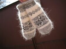 MITTENS homemade Russian goat down natural  yarn furry angora craft soft warm