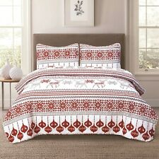 Winter Holiday Quilt Bedding Set Red Grey White Christmas Ornament Reindeer