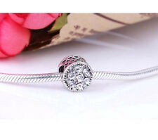 SILVER LOVE HEARTS CRYSTAL ROUND CHARM BEAD FOR BRACELET NECKLACE