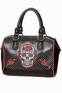Black Mexican Candy Sugar Skull Polka Dot Retro Gothic Handbag By BANNED Apparel