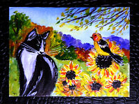 "Original art by Bastet ""Cat and Bird"" OOAK hand painted ACEO"
