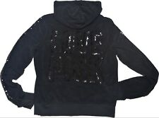 NWT Victoria's Secret PINK Hoodie Bling BLACK Silver Sequins VELOUR