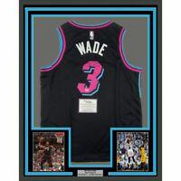 FRAMED Autographed/Signed DWYANE WADE 33x42 Heat Black Vice Jersey Fanatics COA