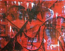 LARGE CONTEMPORARY ORIGINAL MODERN ABSTRACT Red Black PAINTING ART Dan Byl 4x5ft