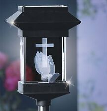 "14"" SOLAR LED MEMORIAL 3D CRYSTAL LIGHT - PRAYING HANDS"