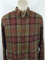 Flannel Button-up Size Medium M Brown Red Green Yellow 1929