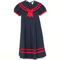 Rare Editions Sailor Dress 6 Girls Blue Red Classic Long Modest Bow