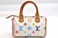 Auth Louis Vuitton Monogram Multicolor Mini Speedy White Hand Bag Pouch LV 99437