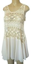 NEW A'reve EMBROIDERED DRESS Top Tunic L S Sleeveless Mini Cover Up Cream Lace