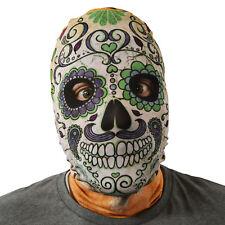 DÍA DE LOS MUERTOS CALAVERA Diseño Púrpura 3d Efecto Piel Cara De Lycra Máscara