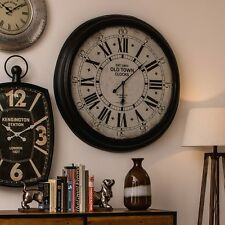 93cm Round Old Town Iron Wall Mountable Clock Glass Retro Style With Black Hands