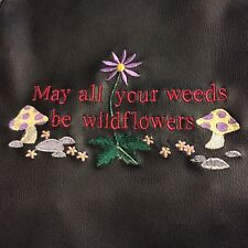 "Garden,Aprons, Waterproof 27"" x 36""  Forest  Green Embroidered, Are Wildflowers"
