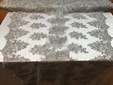 Lace Fabric -Embroidered Sequin Mesh Flower For Wedding Dress By The Yard Silver