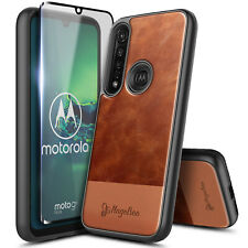 For Motorola Moto G8 Plus Case Shockproof Leather Phone Cover + Tempered Glass