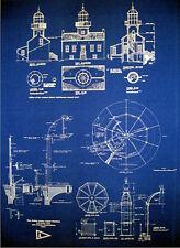 Vintage Lighthouse Prints Point Loma San Diego 1855 Blueprints 18x24 pair (260)