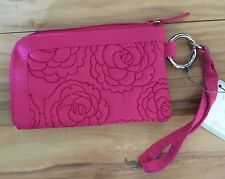 Wellspring Melrose Wristlet/Phone Case Quilted/Embroidered Pink Flower Rose 3910