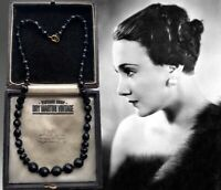 VINTAGE ART DECO FRENCH JET BEADS NECKLACE CLASSIC BEAUTIFUL GIFT EXCELLENT COND
