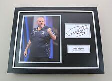 Phil Taylor Signed Photo Framed 16x12 Darts Memorabilia Autograph Display COA