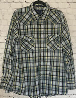 Pendleton Mens XL Button Down Pearl Snap Blue Plaid Long Sleeve Frontier Shirt