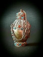 More details for snuff bottle antique chinese/tibetan gilt silver ( most valuable type )