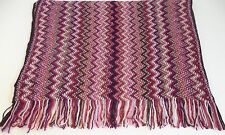 Missoni Mohair Scarf Multi-Color Pink Brown Red White Woven Zig Zag Pattern NWT