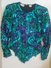 Laurence Kazar vintage beaded sequin dress top SMALL EUC - special occasion
