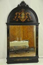 Antique Ebonized & Painted UK British Regency Style Shield Mirror, c. 1900's