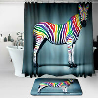 Waterproof Fabric Bathroom Shower Curtain Sheer Panel Decor + Floor