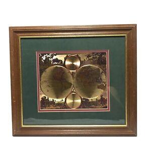 Nova Orbis Tabvla In Lvcem Edita, A.F. De Wit Gold Foil World Map Glass Framed