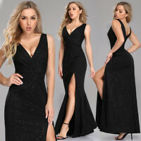 Ever-Pretty Double V-Neck Side Split Wedding Cocktail Evening Prom Dresses Gowns