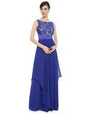 Ever-Pretty Long Evening Dress Blue Chiffon Dress Celebrity Cocktail Party Gown