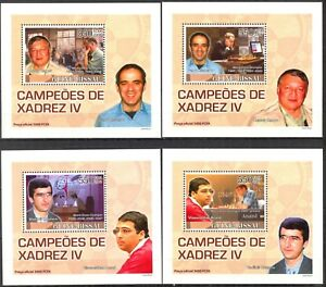 {236} Guinea Bissau 2008 Chess Champions ( IV ) 4 S/S Deluxe MNH**