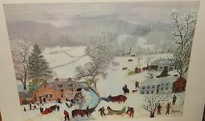 """GRANDMA MOSES """"A FROSTY DAY"""" VINTAGE 1948 COLOR LITHOGRAPH"""