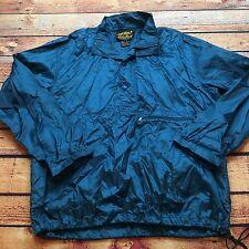 90s VTG EDDIE BAUER PULLOVER T SNAP Windbreaker L Jacket Teal TURQUOISE Shiny