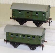 2x Fleischmann GFN Personenwagen: 400 und Packwagen 401 grün Spur 0 Blech