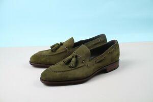 Carmina Pelikamo Tassel Loafer in Loden Green Suede Size 6 1/2