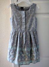 New GAP Kids Girls Floral Border Print Sleeveless Dress Gray Blue XS 4 5 NWT $40